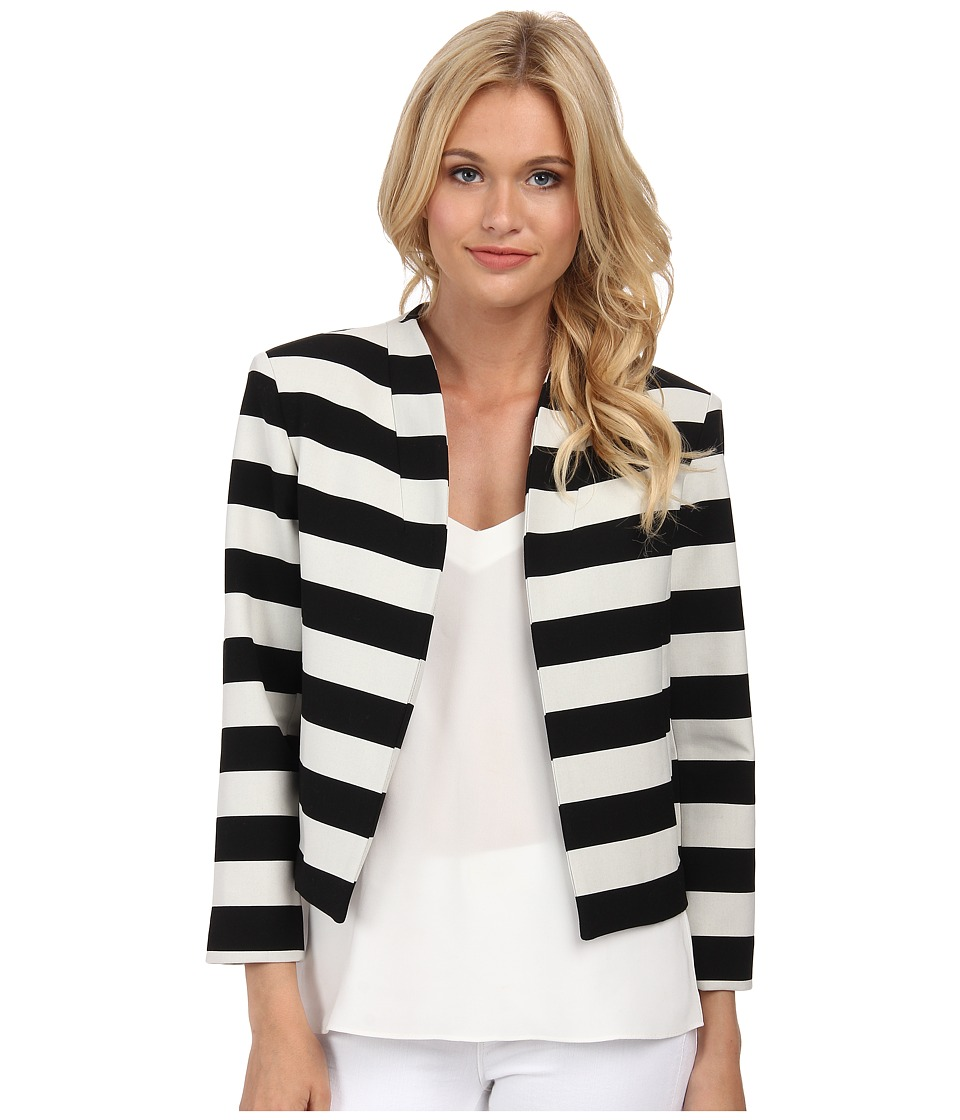 Nicole Miller - Bold Stripe Cropped Jacket (Black/White) Women's Coat