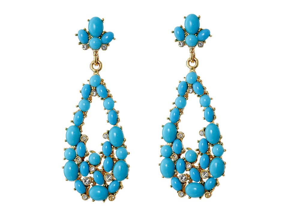 Kenneth Jay Lane - Gold Tone Cabochon Teardrop Earrings (Gold/Crystal/Turquoise) Earring