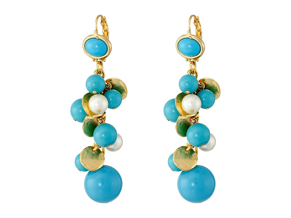 Kenneth Jay Lane - Gold Tone Cluster Bead Earrings (Turquoise/Pearl) Earring