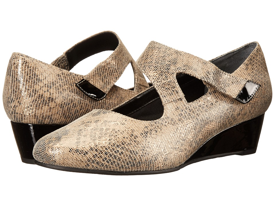 Rose Petals - Aubrey (Taupe/Gold Lizard Print/Black Patent) Women's Shoes