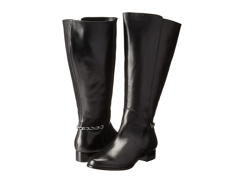 Rose Petals - Adina Wide Shaft Boot (Black Nappa) Women's Zip Boots