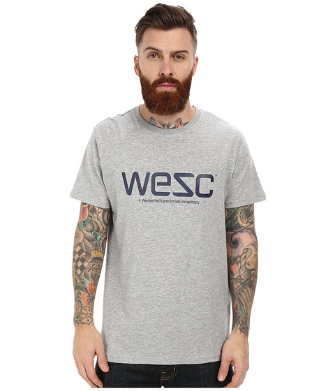 WeSC - Logo Short Sleeve Tee (Grey Melange) Men's T Shirt