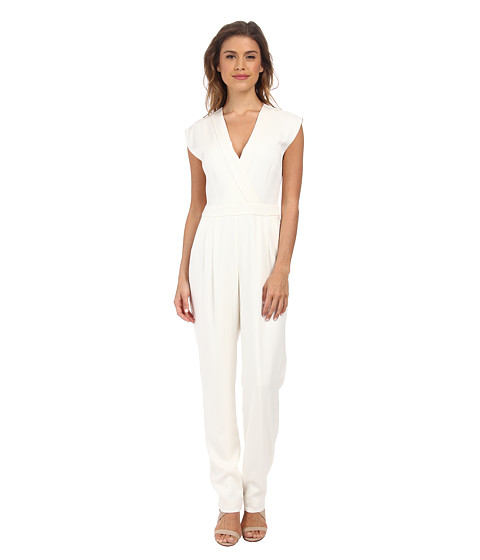 Nicole Miller - Stretch Crepe V-Neck Jumpsuit (White) Women's Jumpsuit & Rompers One Piece
