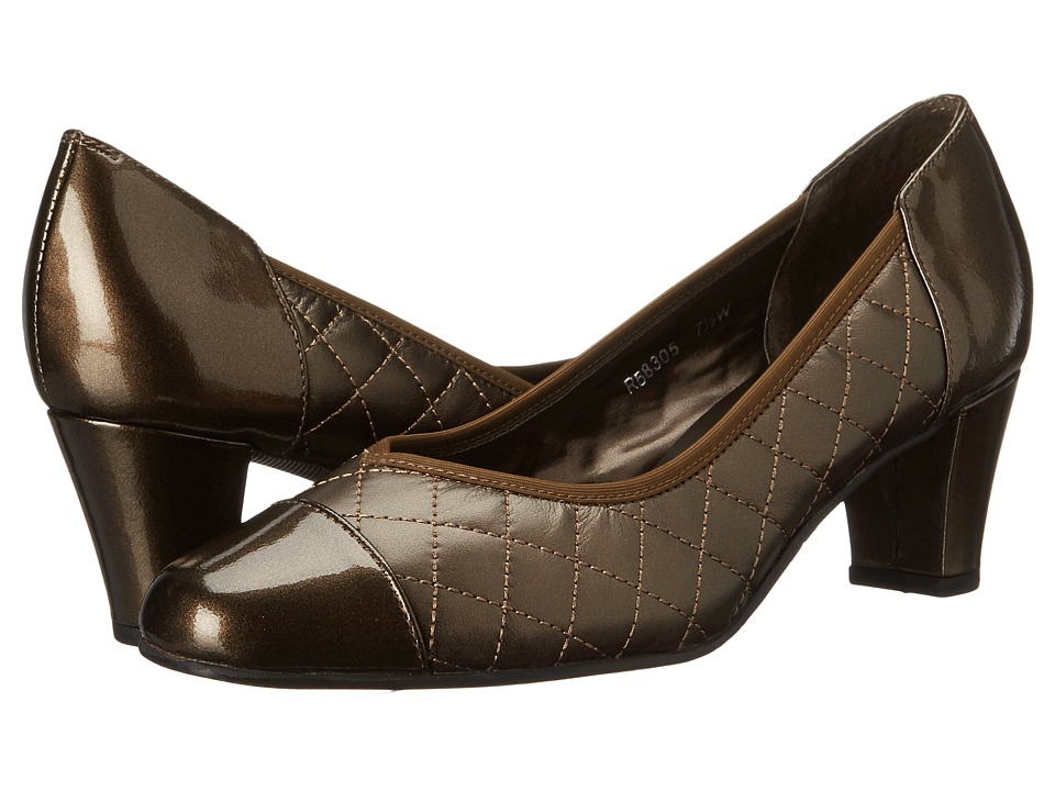 Rose Petals - Brittany (Quilted New Bronze/Bronze Patent) Women's Shoes