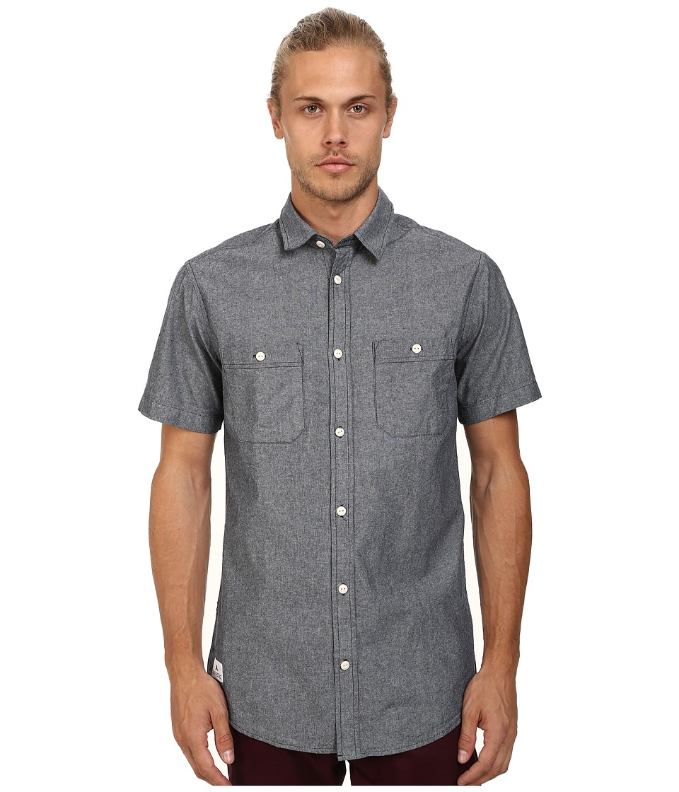 WeSC - Larken Short Sleeve Woven Shirt (Blue Iris) Men's Short Sleeve Button Up
