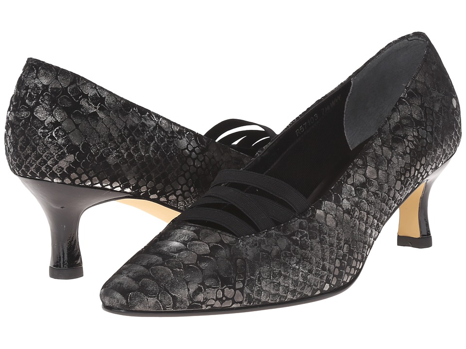 Walking Cradles - Pamela (Black/Silver Belly Snake/Black Patent/Gore) Women's Shoes