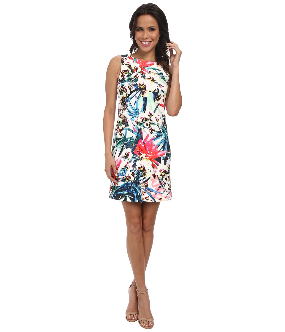 Nicole Miller - Orchid Jungle Neoprene Shift Dress (White Multi) Women's Dress