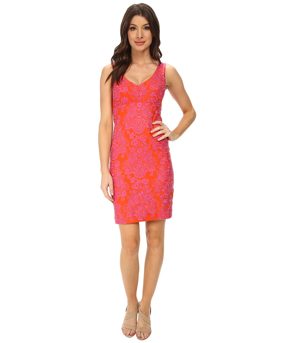 Nicole Miller Baroque Embroidered Neoprene V-Neck Dress (Orange Soda) Women