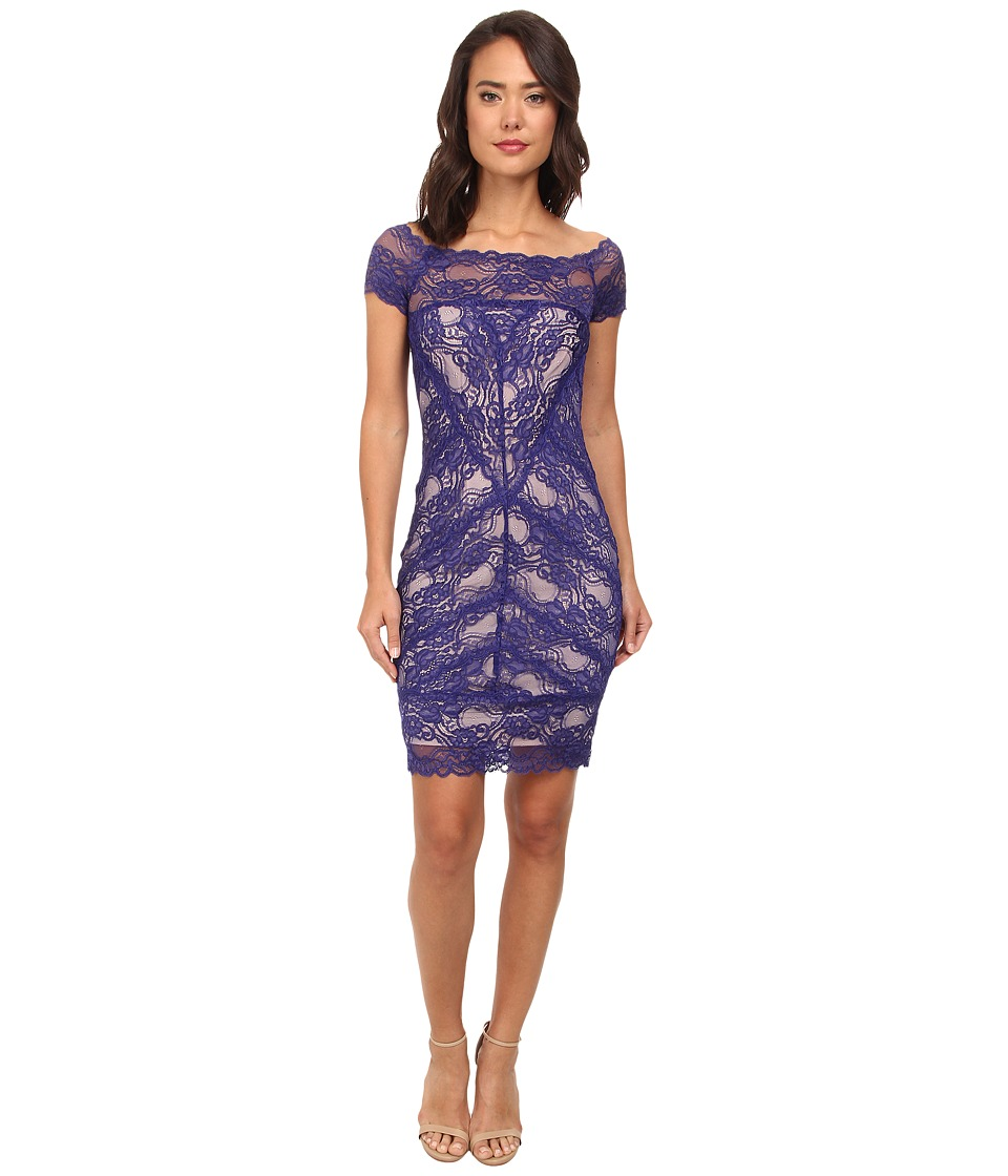 Nicole Miller Cam Stretch Lace Dress (Dark Cobalt) Women