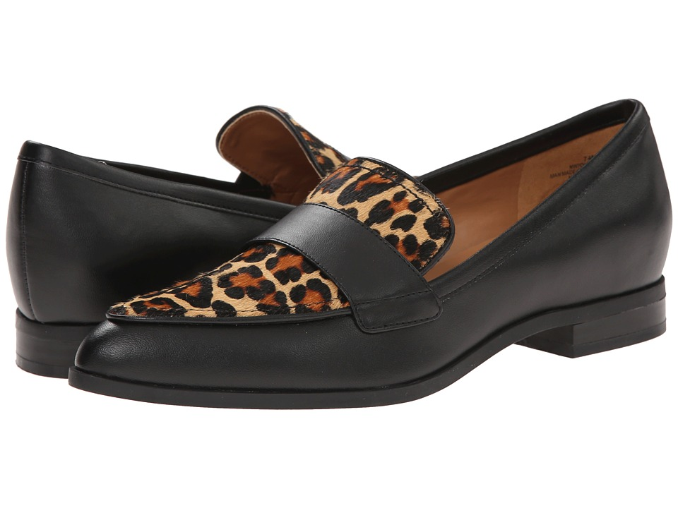 Nine West - Oldschool (Black Fresh Kid PU ZG2010/Catty Cow Fur) Women's Slip on Shoes