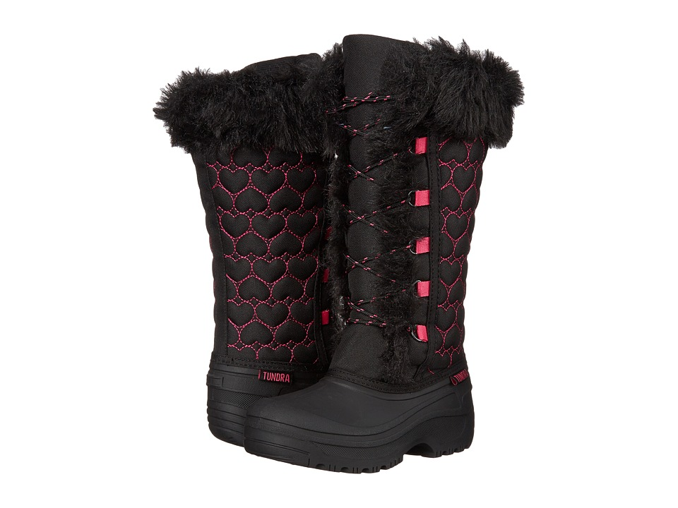 Tundra Boots Kids - Nicole (Little Kid/Big Kid) (Black/Hearts) Girls Shoes