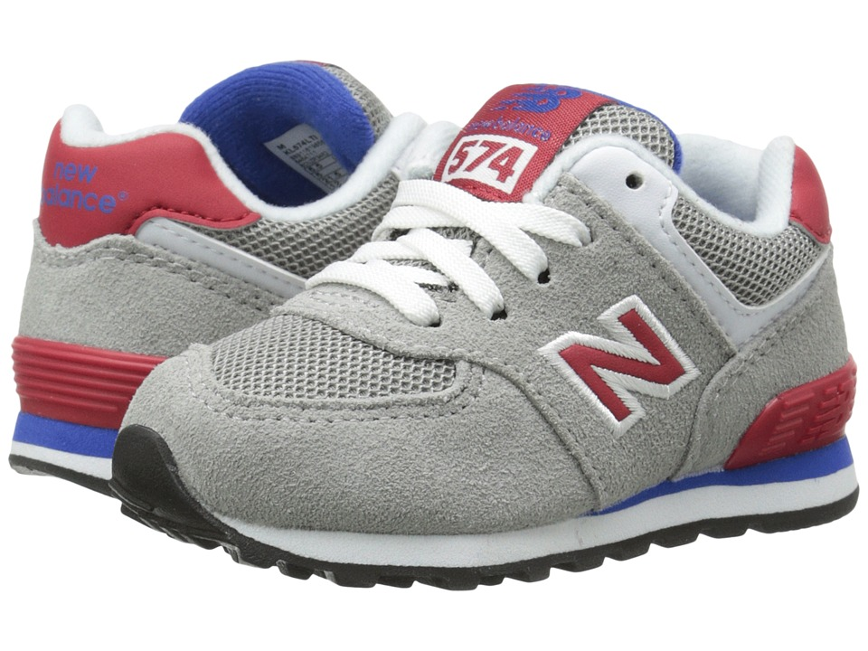 New Balance Kids - KL574 (Infant/Toddler) (Grey/Red) Boys Shoes