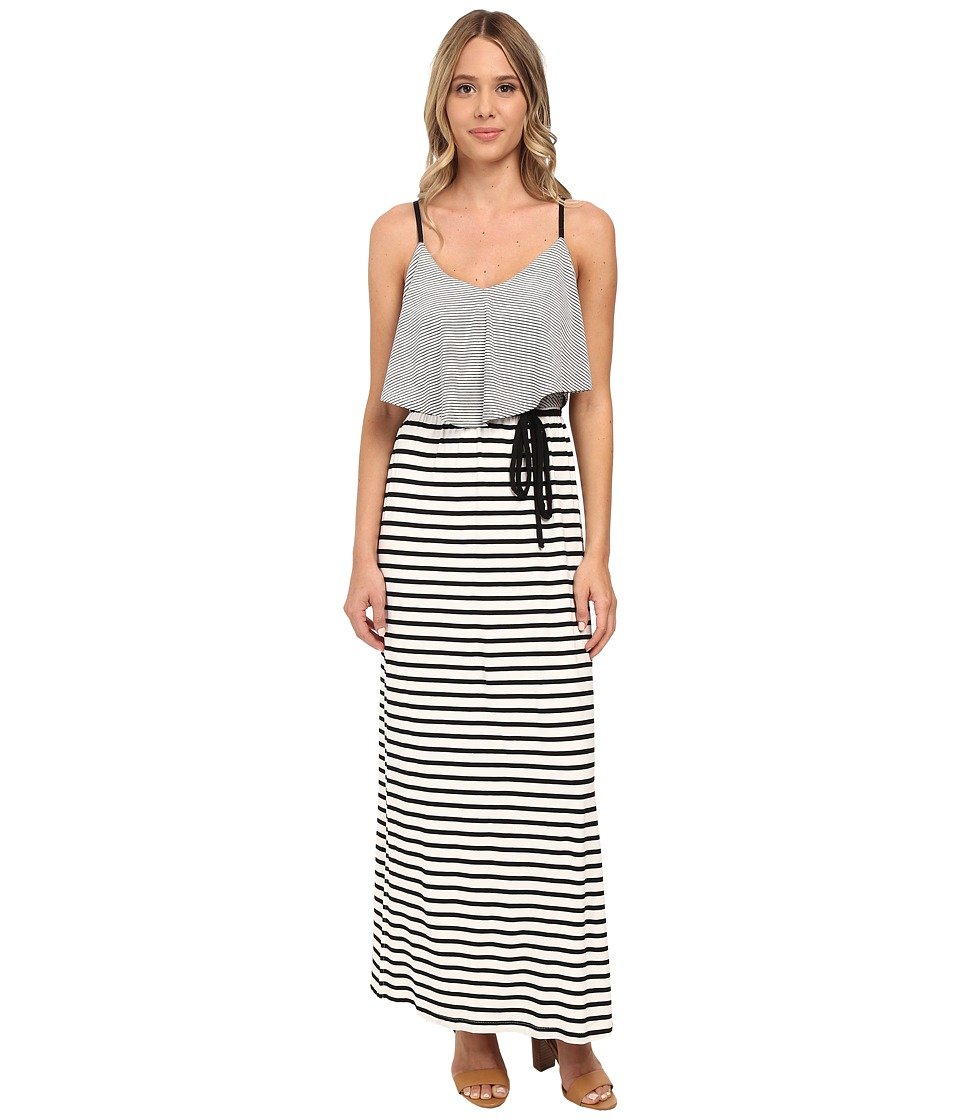 Brigitte Bailey - Knit Stripe Popover Maxi w/ Cage Back Dress (Ivory/Black) Women's Dress