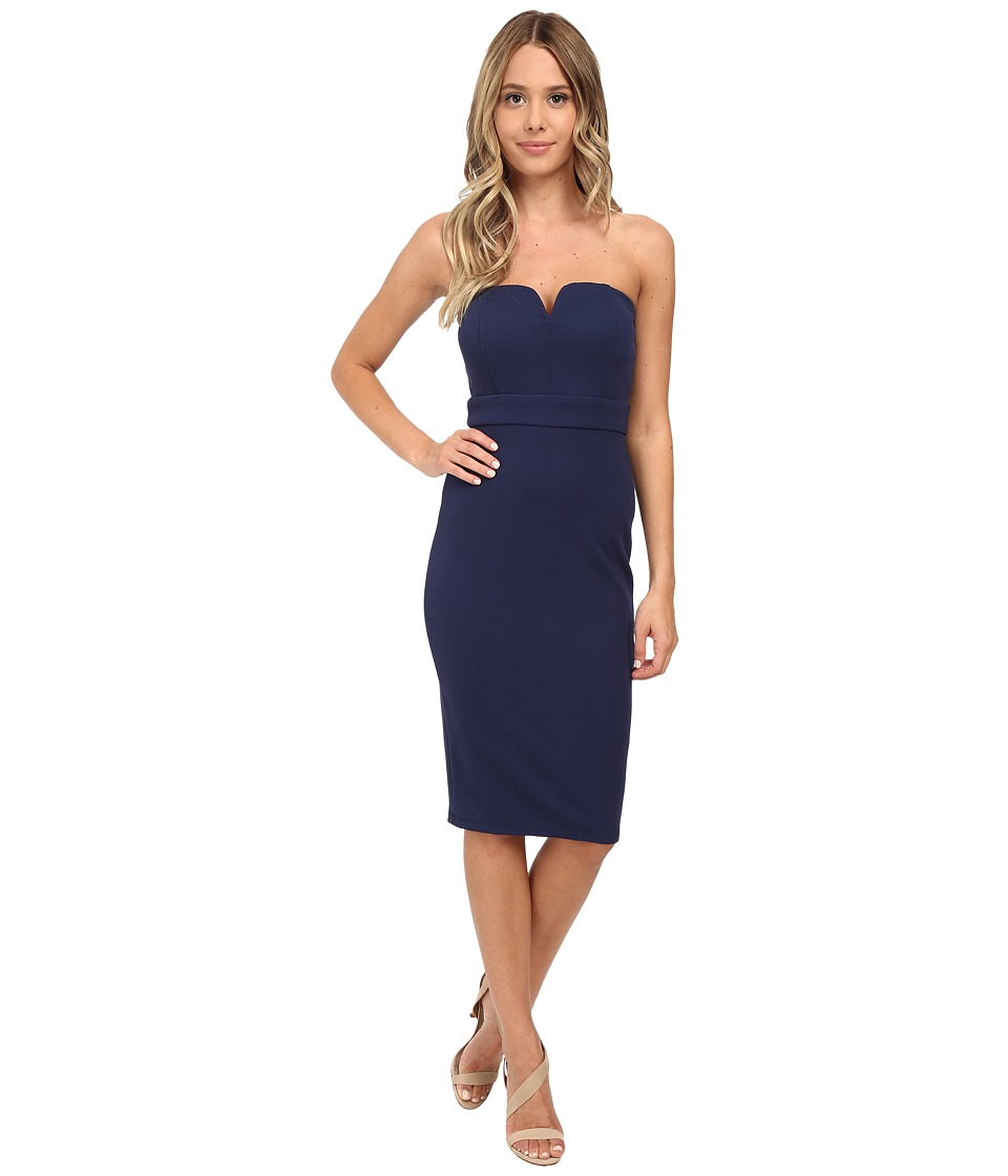 Brigitte Bailey - Textured Knit Tube w/ V-Wire Midi Dress (Navy) Women