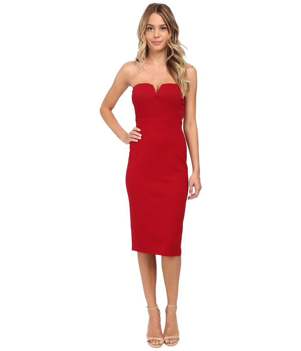 Brigitte Bailey - Textured Knit Tube w/ V-Wire Midi Dress (Wine) Women's Dress