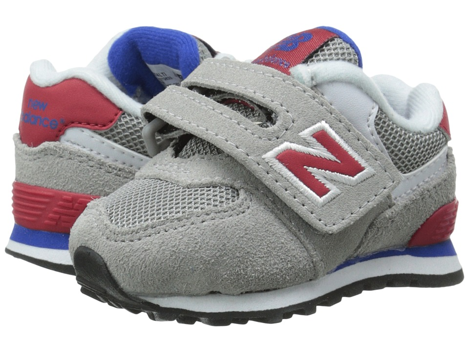 New Balance Kids - KG574 (Infant/Toddler) (Grey/Red) Boys Shoes