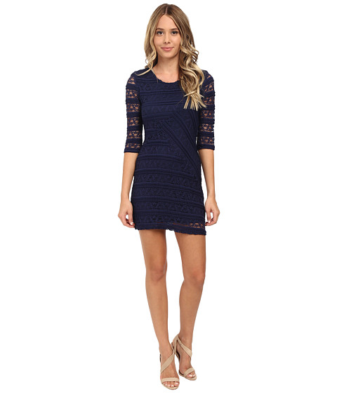 Brigitte Bailey - Lace 3/4 Sleeve Zip Back Mitered Front Dress (Navy) Women