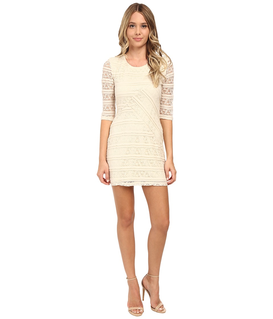 Brigitte Bailey - Lace 3/4 Sleeve Zip Back Mitered Front Dress (Ivory) Women