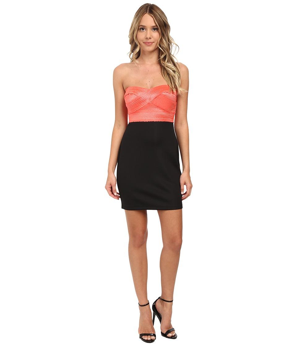 Gabriella Rocha - Tube Elastic Banding w/ Ponte Skirt Dress (Black/Coral) Women's Dress
