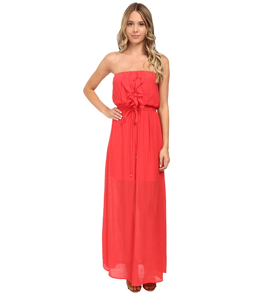 Gabriella Rocha - Gauze Tube Ruffle Front Maxi Dress (Deep Coral) Women's Dress