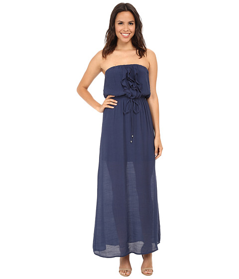 Gabriella Rocha - Gauze Tube Ruffle Front Maxi Dress (Navy) Women
