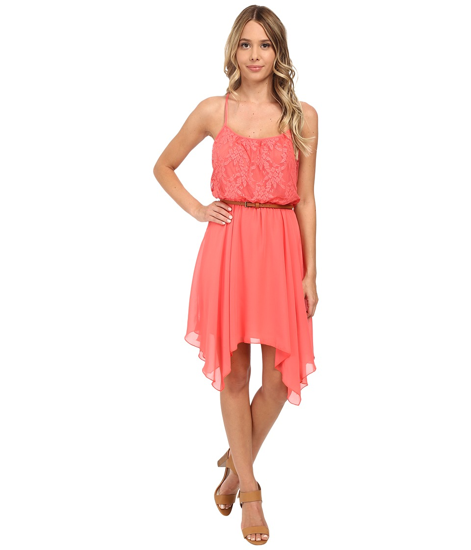 Gabriella Rocha - Lace/Chiffon Belted Hanky Hem Dress (Coral) Women's Dress