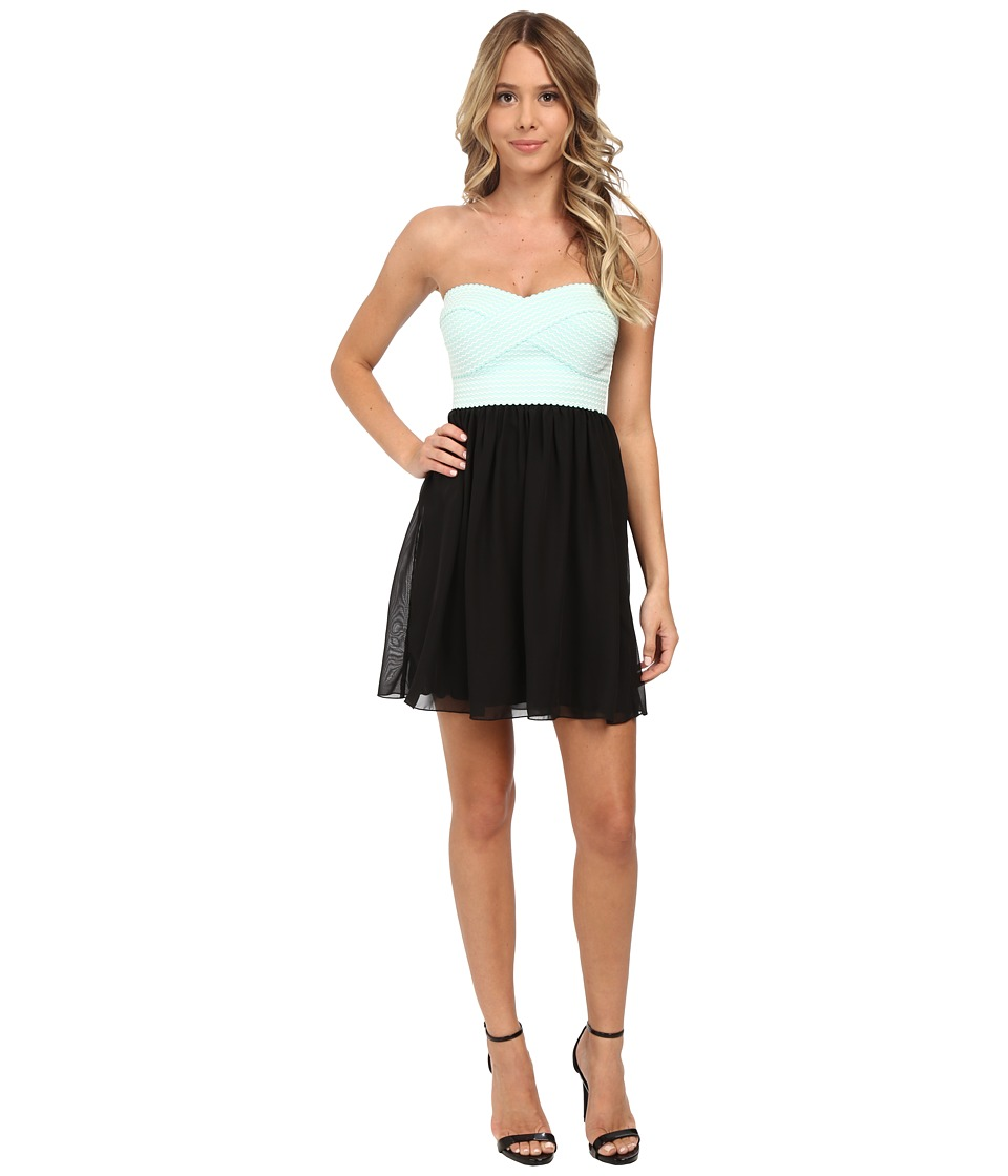 Gabriella Rocha - Tube Elastic Banding w/ Chiffon Skirt Dress (Black/Aqua) Women's Dress