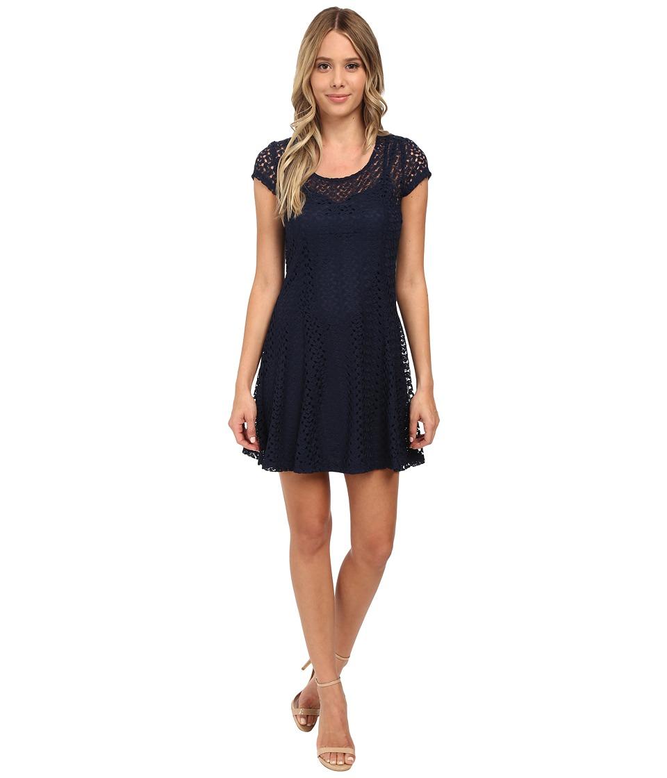 Gabriella Rocha Lace Cap Sleeve Fit Flare Dress (Navy) Women