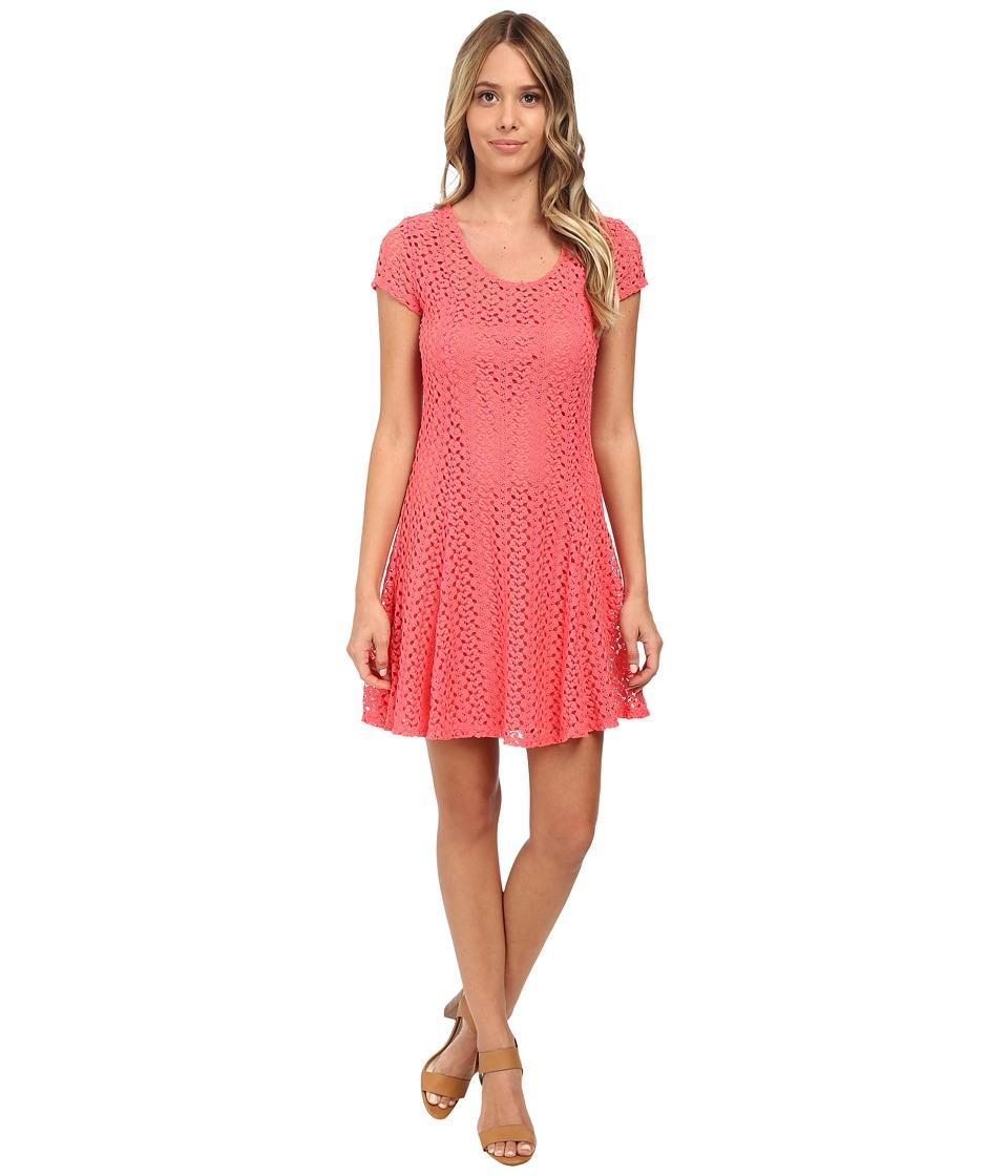 Gabriella Rocha Lace Cap Sleeve Fit Flare Dress (Coral) Women