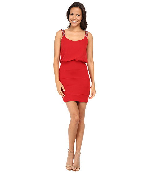 Gabriella Rocha - Sequin Strap Blouson Banded Skirt Dress (Cherry Red) Women's Dress