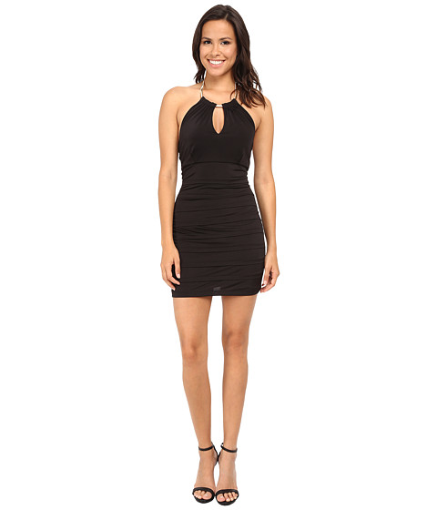 Gabriella Rocha - Choker Necklace Banded Dress (Black/Gold) Women's Dress