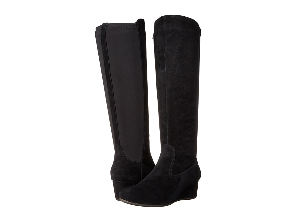 Rockport - Total Motion 45mm Wedge Tall Boot - Wide Calf (Black Kid Suede WC) Women's Boots