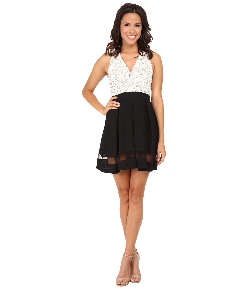 Gabriella Rocha - Outline Lace/Solid Skirt Halter Dress (Ivory/Black) Women's Dress