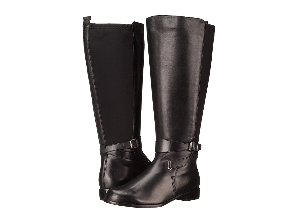 Rose Petals - Tamara Wide Shaft Boot (Black Nappa/Black Stretch) Women