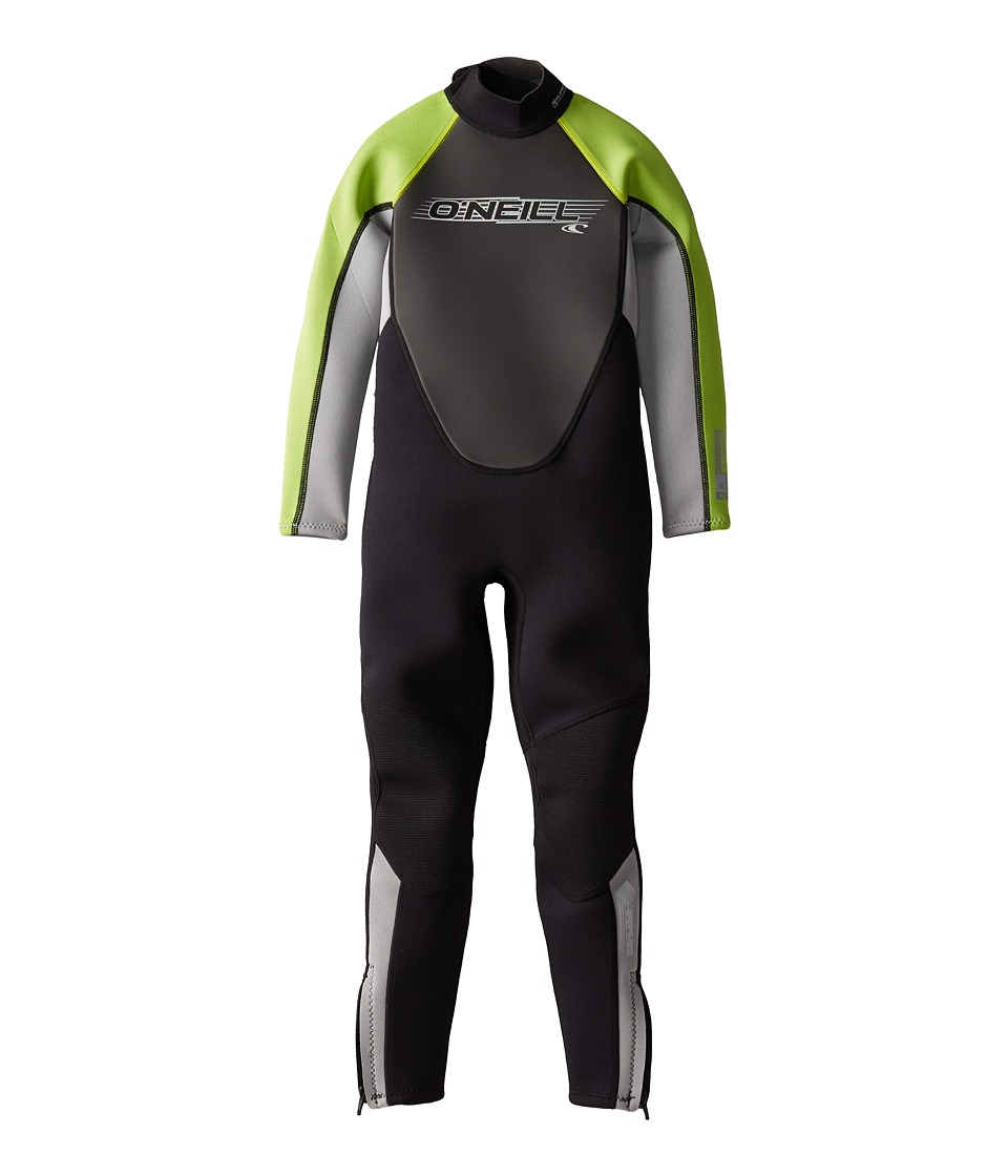 O'Neill Kids - Reactor 3/2 Full (Little Kids/Big Kids) (Black/Flint/Lime) Kid's Wetsuits One Piece