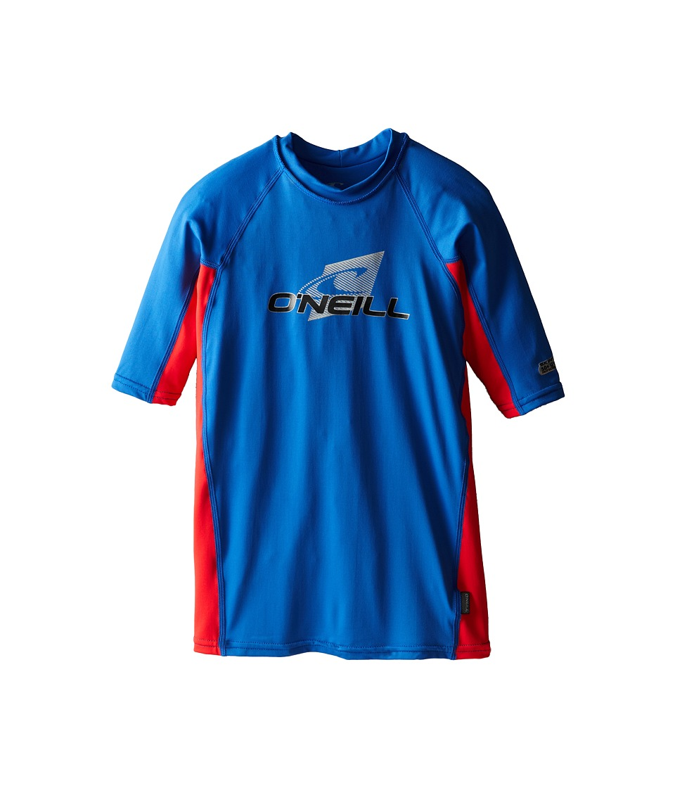 O'Neill Kids - Skins Short Sleeve Crew (Little Kids/Big Kids) (Deep Sea/Red/Deep Sea) Kid's Swimwear
