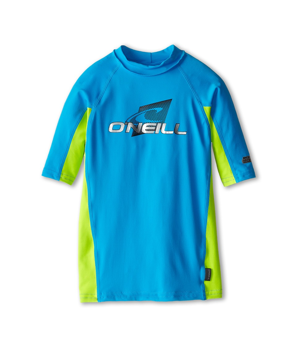 O'Neill Kids - Skins Short Sleeve Crew (Little Kids/Big Kids) (Sky/Lime/Sky) Kid's Swimwear