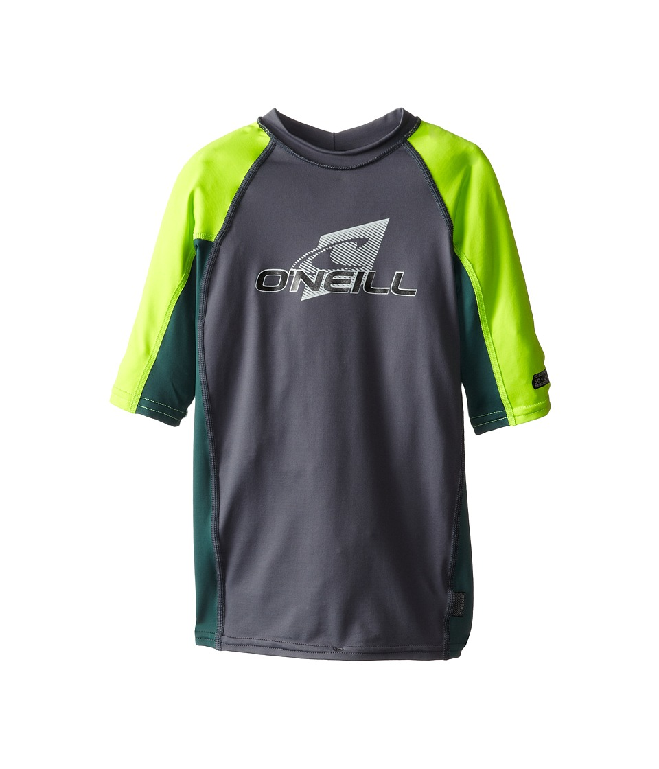 O'Neill Kids - Skins Short Sleeve Crew (Little Kids/Big Kids) (Graphite/Combat/Lime) Kid's Swimwear