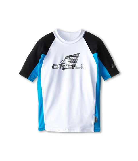 O'Neill Kids - Skins Short Sleeve Crew (Little Kids/Big Kids) (White/Sky/Black) Kid's Swimwear