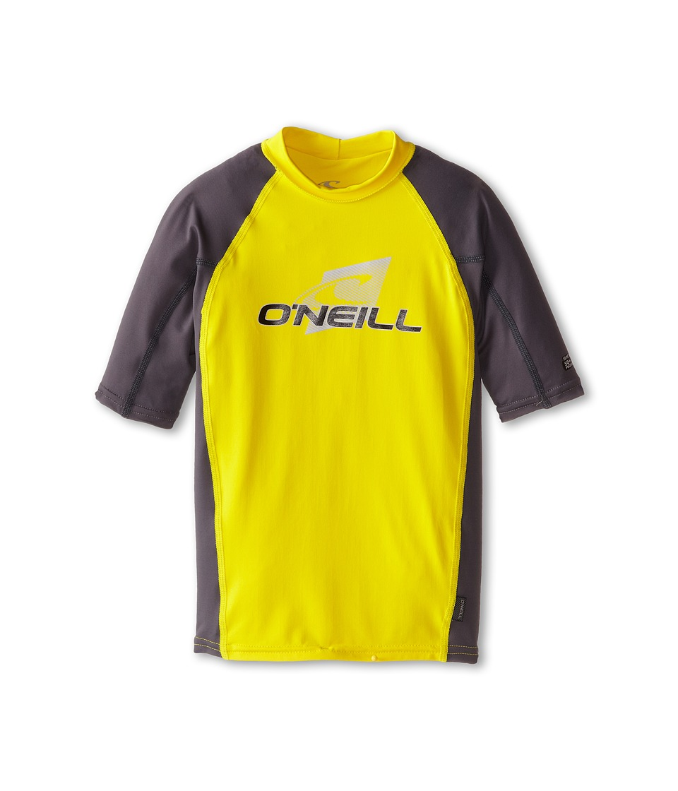 O'Neill Kids - Skins Short Sleeve Crew (Little Kids/Big Kids) (Yellow/Graphite/Graphite) Kid's Swimwear