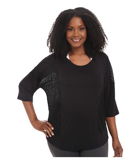 Marika Curves - Plus Size Whirlwind Top (Black) Women's Short Sleeve Pullover