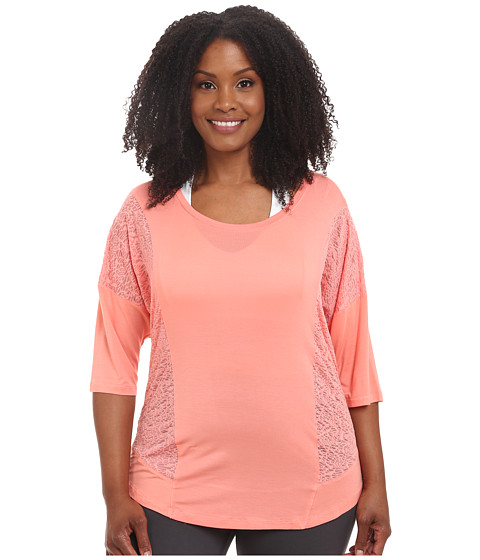 Marika Curves - Plus Size Whirlwind Top (Shell Pink) Women's Short Sleeve Pullover