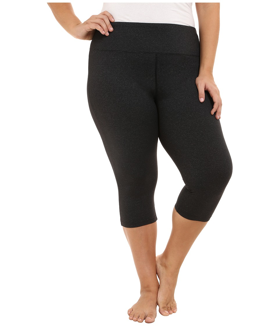 Marika Curves - Plus Size Powerhouse Stripe Capri Leggings (Black) Women