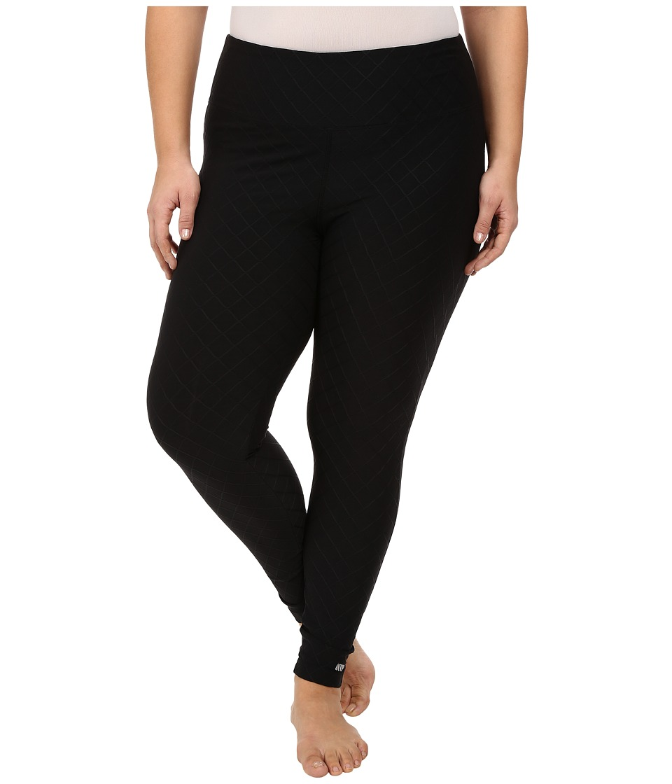 Marika Curves - Plus Size Diamond Jacquard Long Leggings (Black) Women's Casual Pants