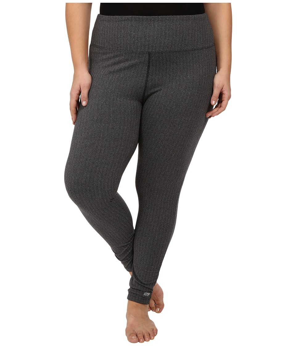 Marika Curves - Plus Size Herringbone Long Leggings (Black) Women's Casual Pants