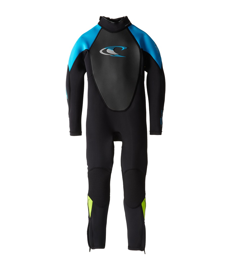 O'Neill Kids - Hammer 3/2 Full (Little Kids/Big Kids) (Black/Sky/Lime) Kid's Wetsuits One Piece