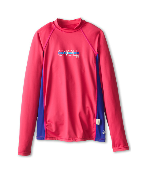 O'Neill Kids - Skins Long Sleeve Crew (Little Kids/Big Kids) (Watermelon/Cobalt/Watermelon) Girl's Swimwear