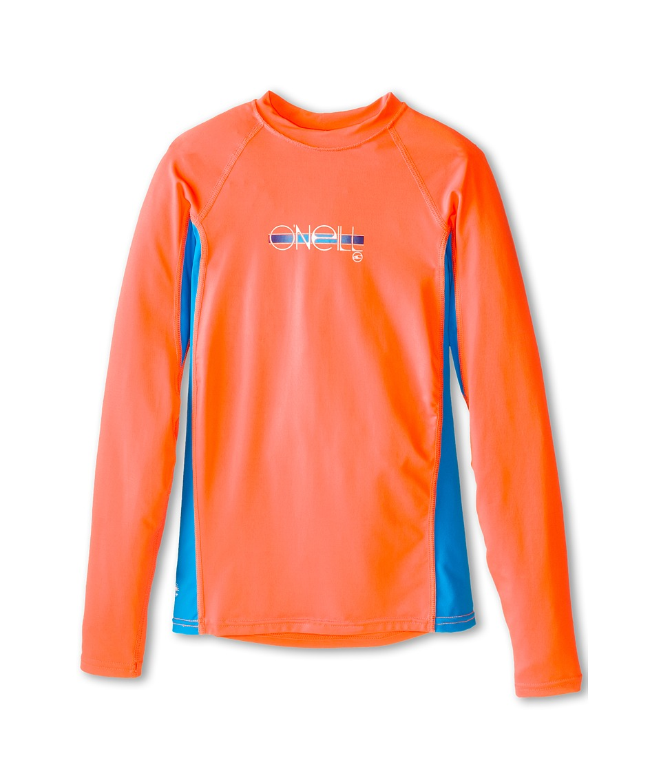 O'Neill Kids - Skins Long Sleeve Crew (Little Kids/Big Kids) (Papaya/Sky/Papaya) Girl's Swimwear