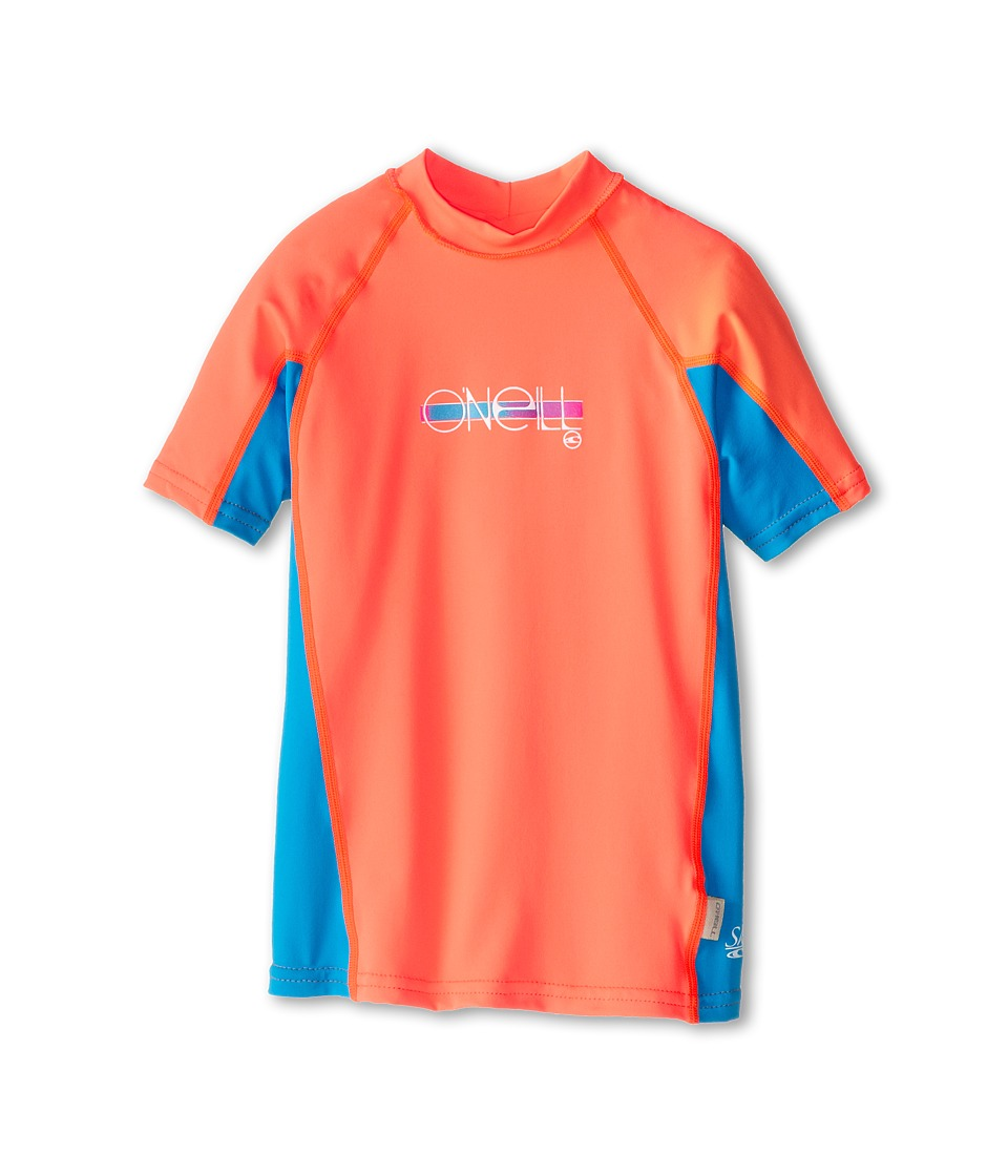 O'Neill Kids - Skins Short Sleeve Crew (Little Kids/Big Kids) (Papaya/Sky/Papaya) Girl's Swimwear