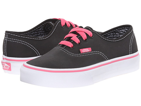 Vans Kids - Color Me Authentic (Little Kid/Big Kid) (Chalkboards/True White/Pink) Girl's Shoes